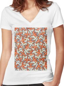 Birds Women's Fitted V-Neck T-Shirt