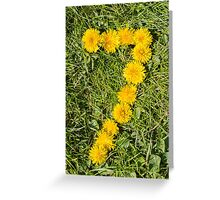 number seven drawn with dandelion on the lawn Greeting Card