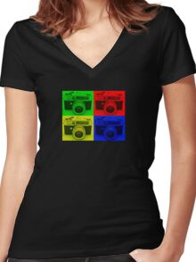 4 COLORS CAMERA Women's Fitted V-Neck T-Shirt
