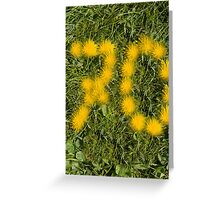 number seventy designed with dandelion on the lawn Greeting Card