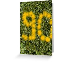number ninety designed with dandelion on the lawn Greeting Card