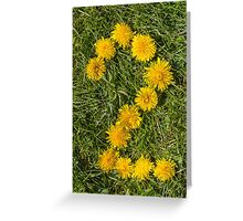 number two drawn with dandelion on the lawn Greeting Card