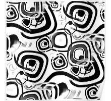 Funky Retro Black and White Graphic Pattern Poster