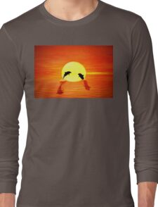 dolphin sunset Long Sleeve T-Shirt