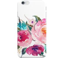 Floral Watercolor Bouquet Turquoise Pink iPhone Case/Skin