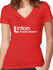 Linton Travel Tavern! Women's Fitted V-Neck T-Shirt