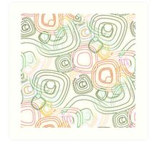 Funky Retro Psychedelic Pattern Crayon Style Art Print