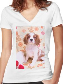 Lady Di Cavalier King Charles Spaniel Women's Fitted V-Neck T-Shirt