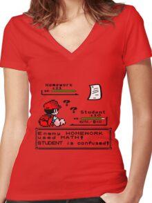 Homework Pokemon Battle Women's Fitted V-Neck T-Shirt