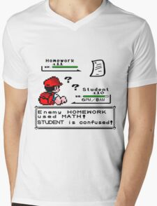Homework Pokemon Battle Mens V-Neck T-Shirt