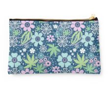 Bright seamless lace pattern on blue background Studio Pouch