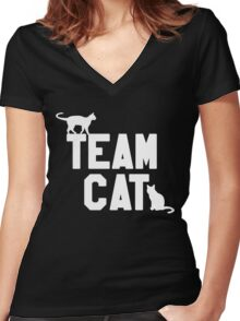Team Cat Women's Fitted V-Neck T-Shirt