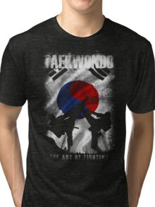 Taekwondo Mountain Fighter White Vintage 2 - Korean Martial Art  Tri-blend T-Shirt