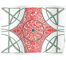 Green and Red Pattern Poster