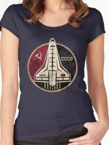 CCCP Space Shuttle Emblem Women's Fitted Scoop T-Shirt