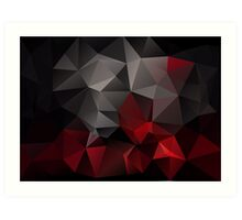 Abstract background of triangles polygon wallpaper in black red colors Art Print