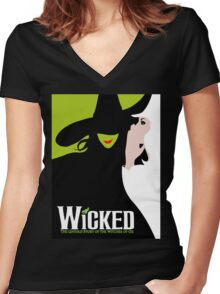 Wicked Broadway Musical Women's Fitted V-Neck T-Shirt