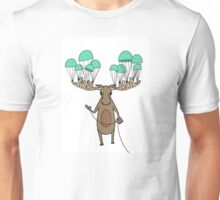 Parachuting Moose Unisex T-Shirt