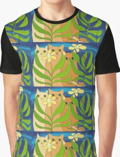 Three Cats, Two Flowers, One Snail and A Ladybug Graphic T-Shirt