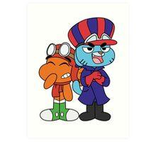 Gumball and Darwin - Wacky Racers Art Print