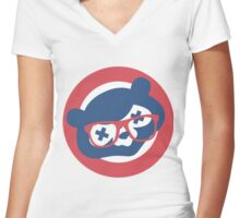 Drunken Cubbie Women's Fitted V-Neck T-Shirt