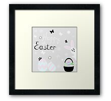 happy Easter with rabbit vector illustration Framed Print
