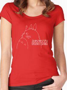 Studio Ghibli Inspired Totoro Women's Fitted Scoop T-Shirt
