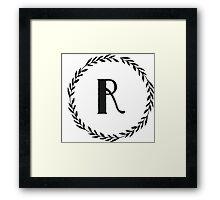 Monogram Wreath - R Framed Print