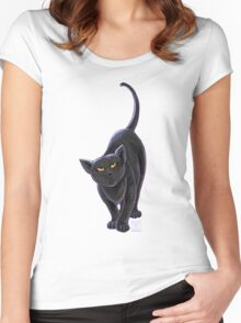 Animal Parade Black Cat Women's Fitted Scoop T-Shirt