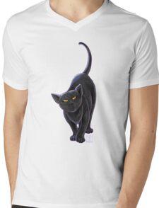 Animal Parade Black Cat Mens V-Neck T-Shirt