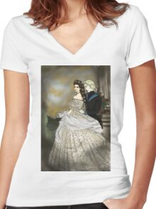 Empress Elisabeth of Austria and Death Women's Fitted V-Neck T-Shirt