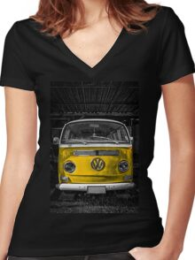 Yellow combi Volkswagen Women's Fitted V-Neck T-Shirt