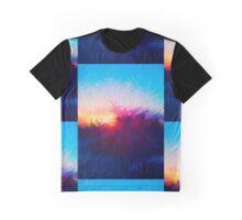 Sunset Warped Paint Effect Graphic T-Shirt