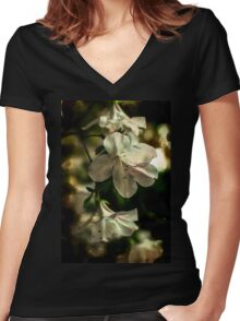 Soft Floral Women's Fitted V-Neck T-Shirt