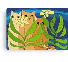 Three Cats, Two Flowers, One Snail and A Ladybug Canvas Print