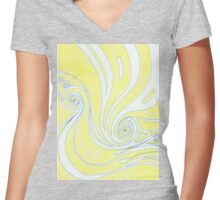 Yellow Curls Women's Fitted V-Neck T-Shirt