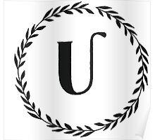 Monogram Wreath - U Poster