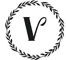 Monogram Wreath - V Photographic Print