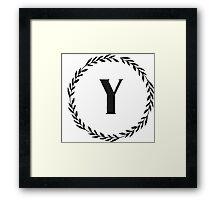 Monogram Wreath - Y Framed Print