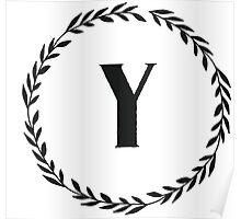 Monogram Wreath - Y Poster