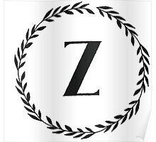 Monogram Wreath - Z Poster