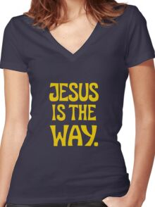Jesus is The Way (y) Women's Fitted V-Neck T-Shirt