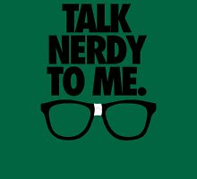 TALK NERDY TO ME. Womens Fitted T-Shirt