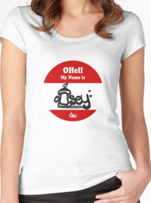 Ohell My Name Is graffiti sticker logo Red Women's Fitted Scoop T-Shirt