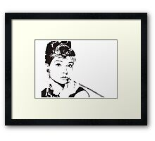 Black and White Audrey Hepburn Framed Print