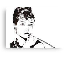 Black and White Audrey Hepburn Canvas Print