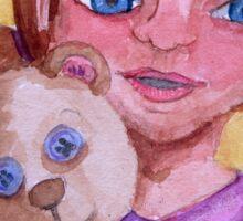 Girl and cuddly teddy Sticker