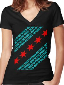 Best In The World In Punk We Trust (Chicago Flag) Women's Fitted V-Neck T-Shirt