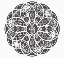 Hamsa Eye Lotus Mandala - Black Kids Tee
