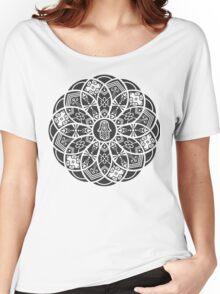 Hamsa Eye Lotus Mandala - Black Women's Relaxed Fit T-Shirt
